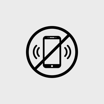No phone zone flat vector icon on a gray background