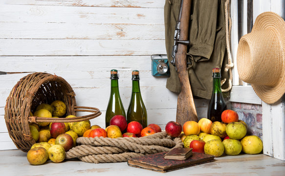 bottles of cider and apples of normandy