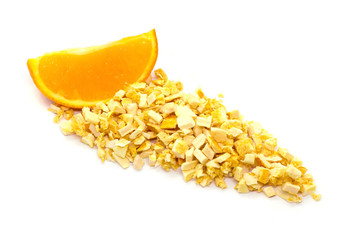 Freeze dried and fresh orange on a white background.