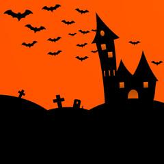 Halloween dark castle with bats. Flat vector illustration
