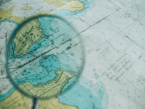 Magnifier zooming piece of map