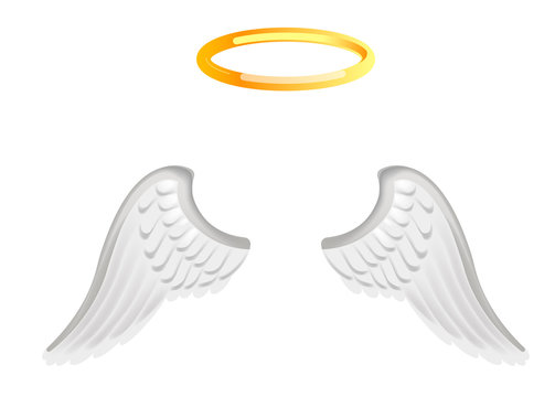 Video chat angel wings face selfie effect photo mask vector icon template