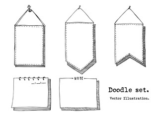 Hand drawn cartoon vector set of paper sheet, tag, sticky note. header, banner, item sketch. Doodle style illustration. Collection of doodle icons