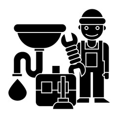 plumber - case - tools - sink icon, illustration, vector sign on isolated background