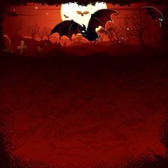 Vampire Bat over Full Moon. Gloomy Halloween Night