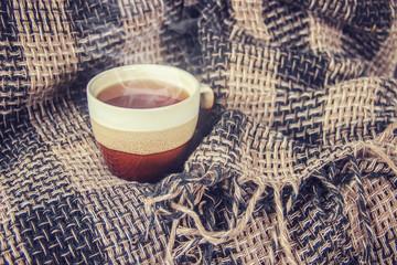 Hot tea. Selective focus.