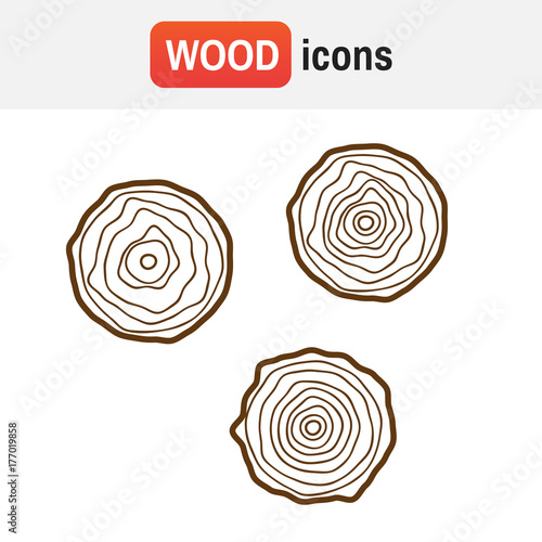 Wood Tree Logo Rings Vector Illustration Vintage Symbol