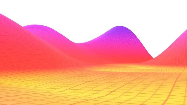 Colorful surface dimentional grid landscape graph of mathematical function 3d illustration