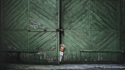 Horror, scary, Halloween. The old doll peeks out of the green gate of the old garage.