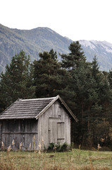 Wooden barns. Traditional agricultural buildings in the alpine region.