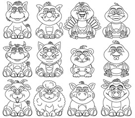 Coloring Pages for Children Contour Animal for Kid