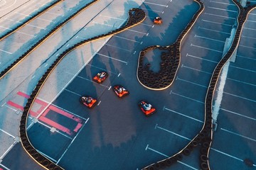 Aerial drone view on racing go-kart track