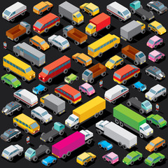Isometric Cars Parking. Vector Image
