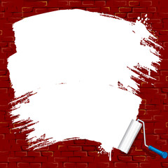 Painting on brick wall. Roller Brush Vector