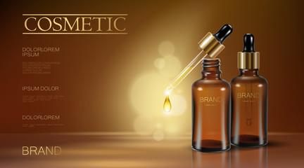 Realistic 3d essence bottle cosmetic ad. Oil droplet falling pipette. Treatment collagen vitamin serum. Brown translucent glass package golden liquid blanck text template banner vector illustration