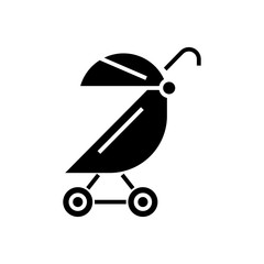 stroller buggy icon, illustration, vector sign on isolated background