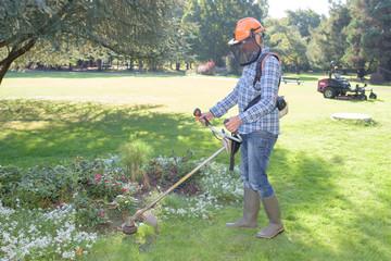 garden worker doing his job