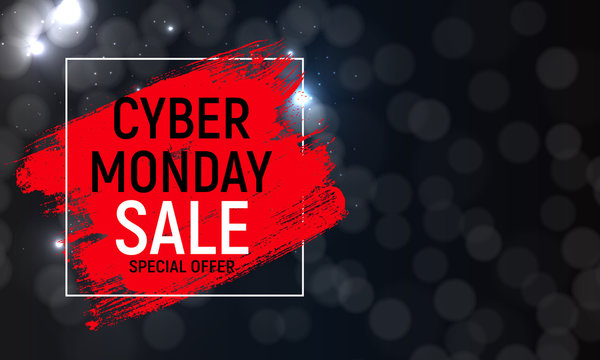 Cyber Monday Background Sale Concept. Vector Illustration