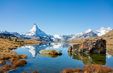 Poster Reflection Matterhorn peak reflected in Stellisee Lake in Zermatt, Switzerland.
