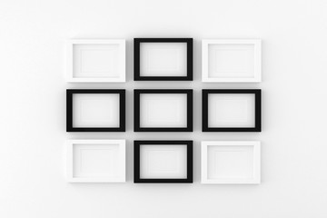 Blank picture frame templates set on living room wall