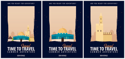 Set of Posters Travel to Israel. Journey, trip and vacation. Vector travel illustration.