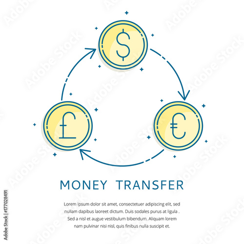 Money Transfer Foreign Currency Exchange Vector Iconsbanking