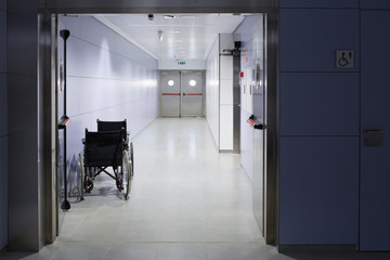 Hospital hall with two wheel chairs