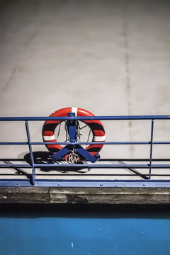 life preserver on a deserted ship