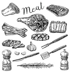 Vector ink hand drawn sketch style meat products set