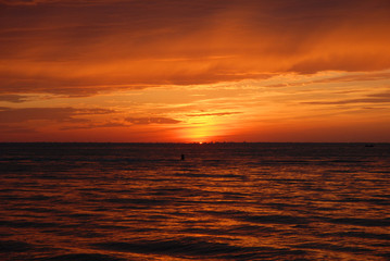 sun set on the lake