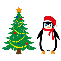 festive penguin new year tree