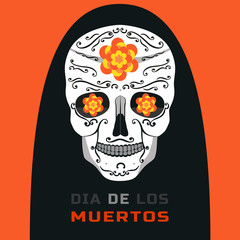 Mexican Dia de los Muertos. Day of the Dead decorated sugar skull. Traditional holiday celebration in Mexico. Flat colorful style. Vector design of festive party banner with cavalera symbol background