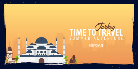 Turkey banner. Time to Travel. Journey, trip and vacation. Vector flat illustration.