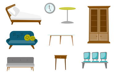 Furniture illustrations set. Collection of furniture including sofa, table with drawer, wall clock, raw of chairs, coffee table, cupboard. Vector cartoon illustrations isolated on white background.