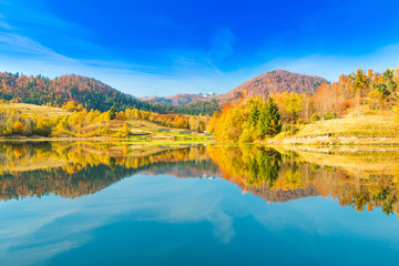 View of Mrzla vodica lake and Risnjak mountain, autumn landscape, Gorski kotar, Croatia
