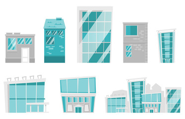 Buildings and houses illustrations set. Collection of modern city buildings, office buildings, glass skyscrapers, urban houses. Vector cartoon illustrations isolated on white background.