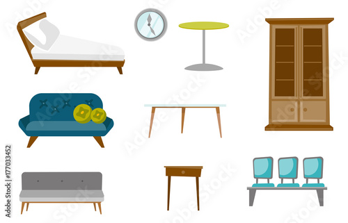 Collection Of Furniture Including Sofa Table With Drawer Wall Clock