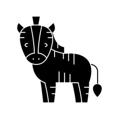 zebra cute icon, illustration, vector sign on isolated background