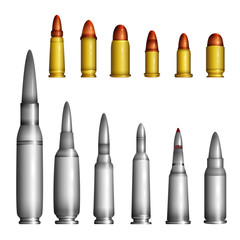 Bullet casings - modern vector realistic isolated objects