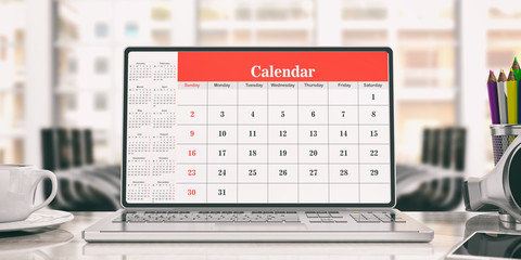Calendar on a laptop screen, office background. 3d illustration