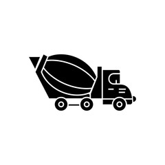 truck сoncrete icon, illustration, vector sign on isolated background