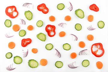 Abstract composition of vegetables. Vegetable pattern. Food background.