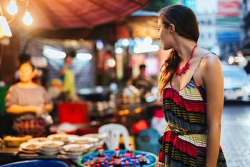 Woman visiting Bangkok, Thailand.