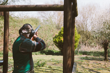 Clay pigeon shooting.