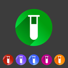 Test tube glass icon flat web sign symbol logo label