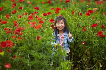 one lovely little asian girl in poppy field