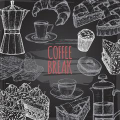 Coffee break template based on hand drawn sketch placed on blackboard background.