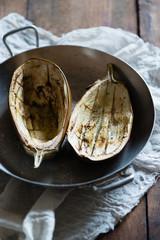 eggplants cut into halves