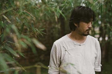 Man standing in a garden
