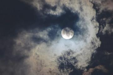 Dark cloudy sky with full moon